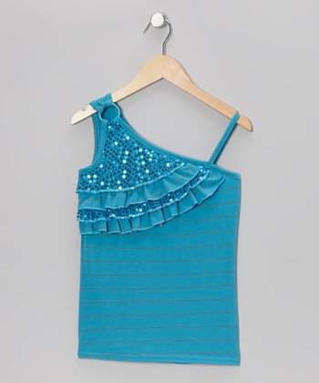 Blue Sequin Asymmetrical Tank - Girls
