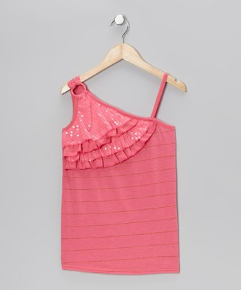 Pink Sequin Asymmetrical Tank - Girls