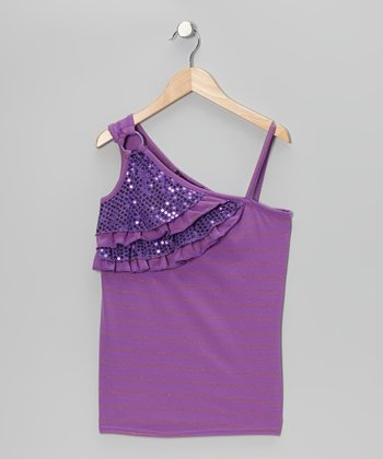 Purple Sequin Asymmetrical Tank - Girls