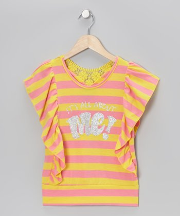 Yellow & Pink 'It's All About Me' Stripe Shirt - Girls