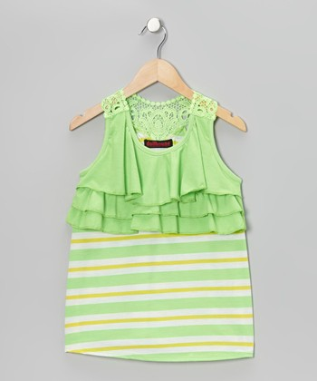 Green & Yellow Stripe Ruffle Tank - Girls
