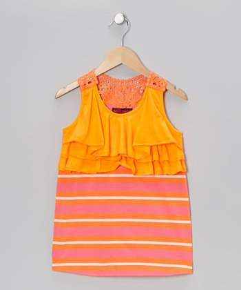 Orange & Yellow Stripe Ruffle Tank - Girls