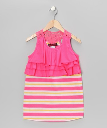 Pink & Yellow Stripe Ruffle Tank - Girls