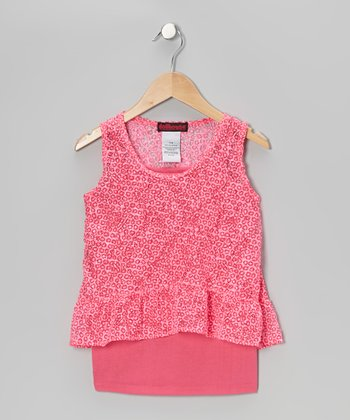 Pink Lace Layered Tank - Girls