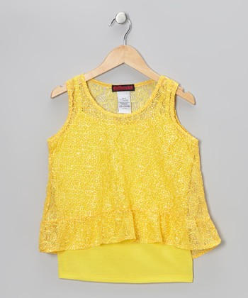 Yellow Lace Layered Tank - Girls
