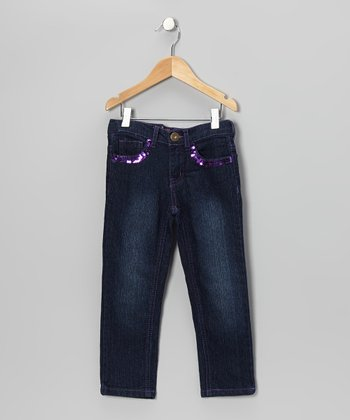 Dark Wash & Purple Sequin Skinny Jeans - Girls