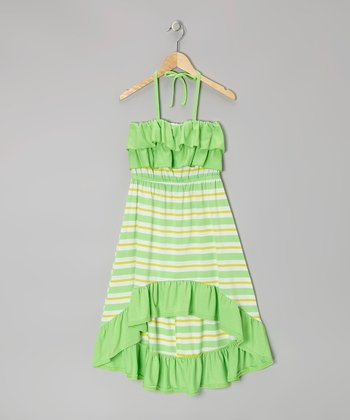 Green & Yellow Stripe Halter Maxi Dress