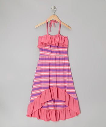 Pink & Purple Stripe Halter Maxi Dress