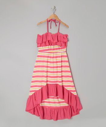 Pink & Yellow Stripe Halter Maxi Dress