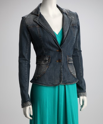 Blue Notch Collar Denim Jacket
