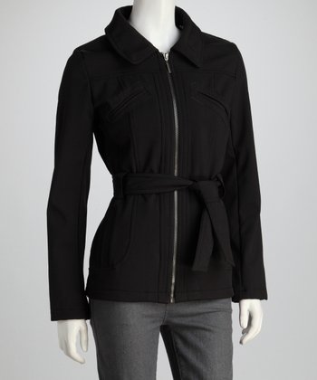 Black Belted Zipper Coat