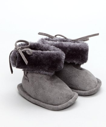 Egg Baby - Charcoal Faux Sheerling Booties