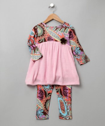 Baby Nay - Vintage Paisley Dress & Leggings Set