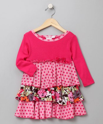 Baby Nay - Fuchsia Polka Dot Amy Dress