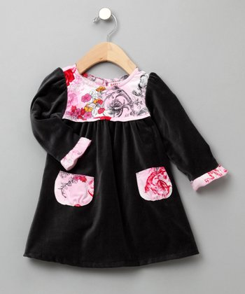 Baby Nay - Rose Toile Velveteen Dress