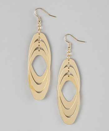 Gold Triple Marquise Earrings