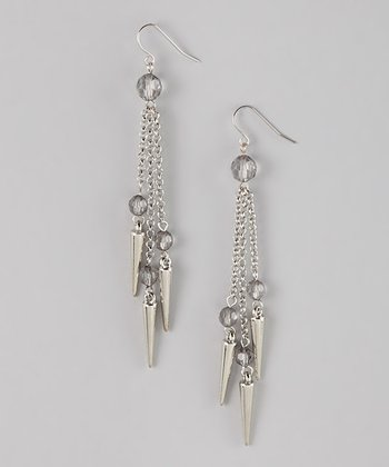 Silver Triple Spike Drop Earrings
