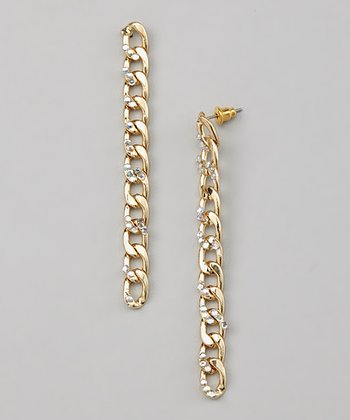 Gold Crystal Chain-Link Drop Earrings