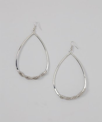 Silver Beaded Teardrop Hoop Earrings