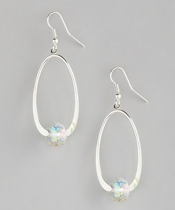 Silver & Clear Crystal Oval Drop Earrings