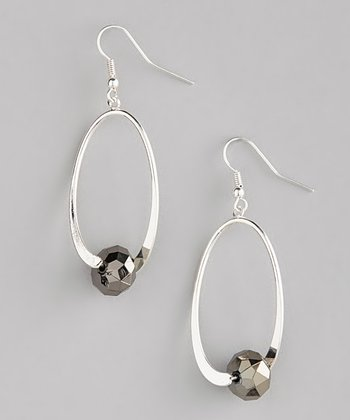 Silver & Hematite Crystal Oval Drop Earrings