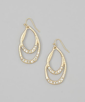 Gold Hammered Crystal Double Oval Earrings