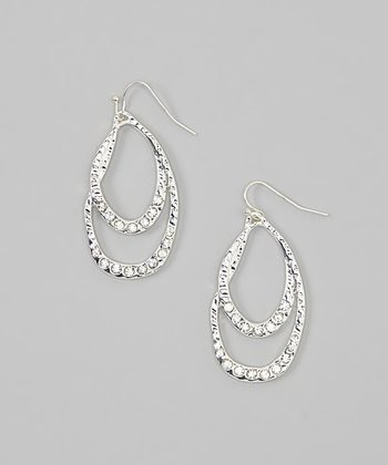 Silver Hammered Crystal Double Oval Earrings