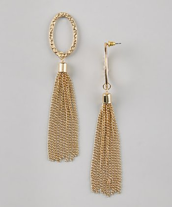Gold Hammered Oval Chain Drop Earrings