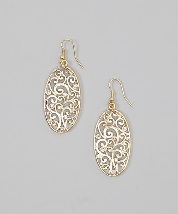 Gold Crystal Swirl Filigree Oval Earrings