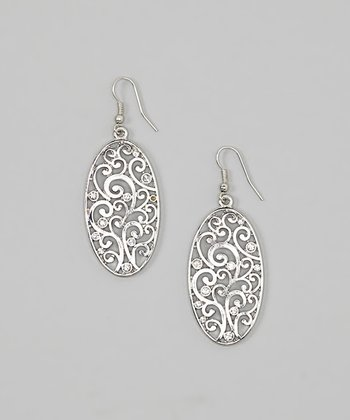 Silver Crystal Swirl Filigree Oval Earrings