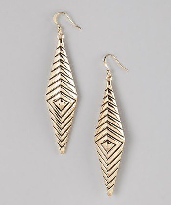 Gold Rhombus Drop Earrings