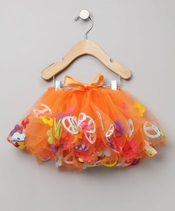 Fairy Finery - Orange Tulle Groovy Peace Skirt