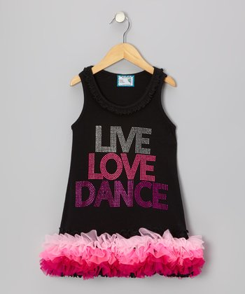 Black 'Live Love Dance' Tutu Dress - Infant, Toddler & Girls