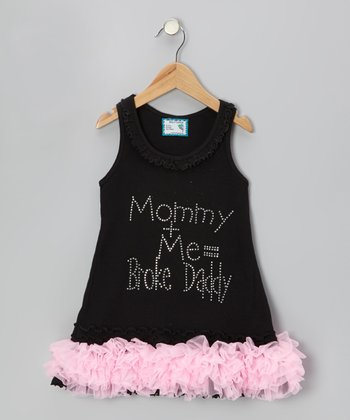 Black 'Mommy + Me' Ruffle Dress - Infant, Toddler & Girls