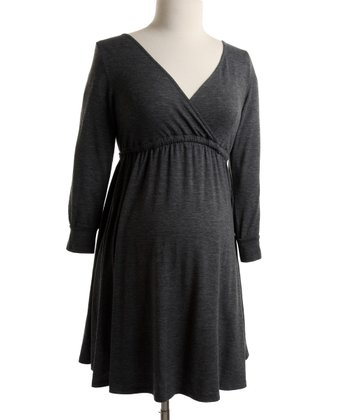 Gray Jersey Surplice Dress