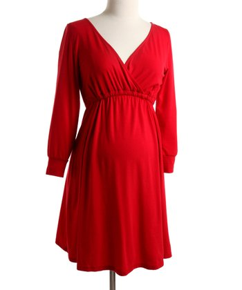 Red Jersey Surplice Dress