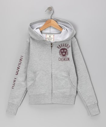 Heather Gray 'Harvard Crimson' Zip-Up Hoodie - Boys