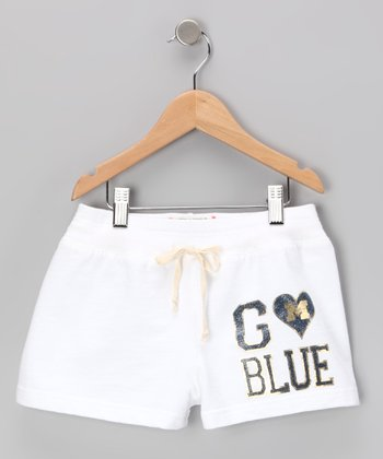 White 'Michigan' Shorts - Toddler & Girls