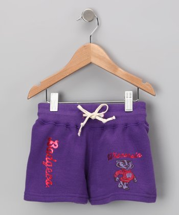 Purple 'Wisconsin Badgers' Shorts - Girls