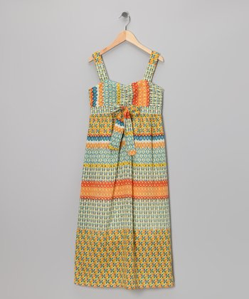 Orange Geometric Maxi Dress - Girls