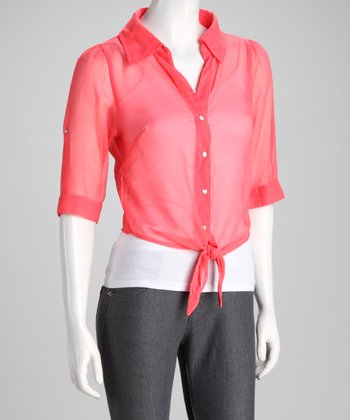 Coral Sheer Cropped Button-Up