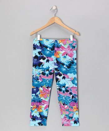 Blue Floral Leggings - Girls