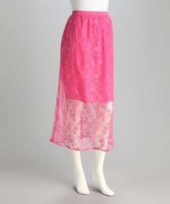 Fuchsia Lace Skirt
