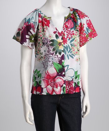 Purple & Fuchsia Floral V-Neck Button-Up