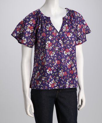 Purple Floral V-Neck Button-Up