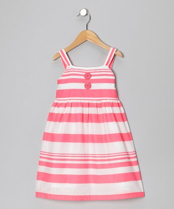 Fuchsia Two-Tone Stripe Dress - Girls