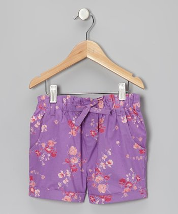 Purple Floral Shorts - Girls