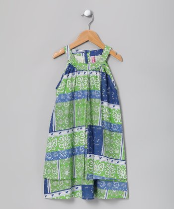 Lime & Blue Swing Dress - Girls
