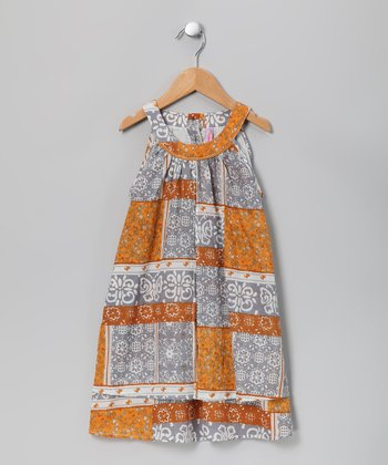 Dark Orange & Slate Swing Dress - Girls