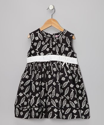 Black & White Fish Dress - Toddler